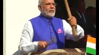 PM Narendra Modi tries his hand at beating drums with Tanzania President John Magufuli