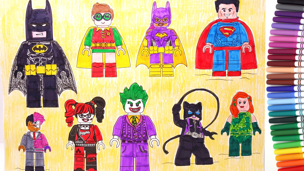 THE LEGO BATMAN MOVIE Batman Robin Superman Batgirl Harley Quinn Joker | Coloring  Pages   YouTube