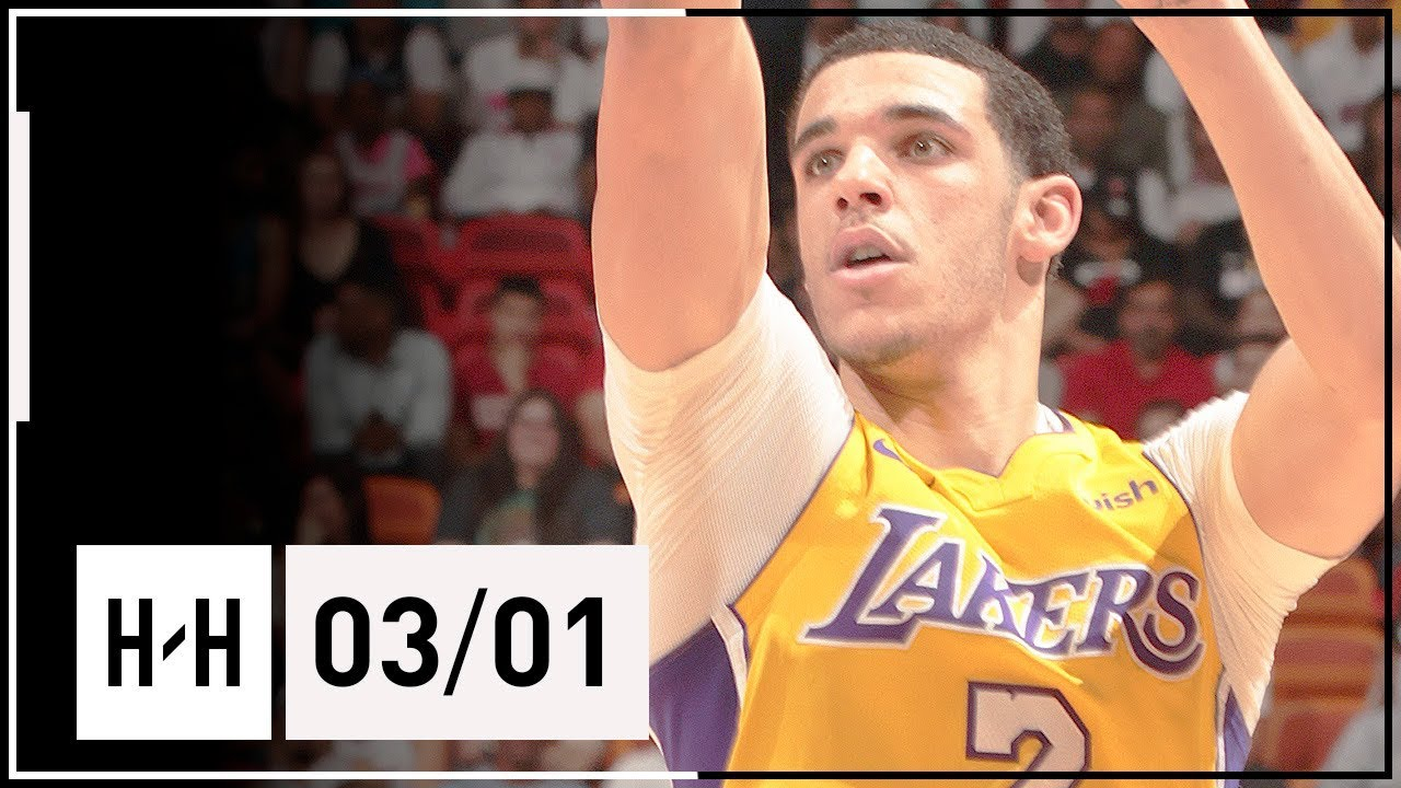 Lonzo Ball Full Highlights Lakers vs Heat (2018.03.01) - 8 Pts, 7 Ast, 6 Steals