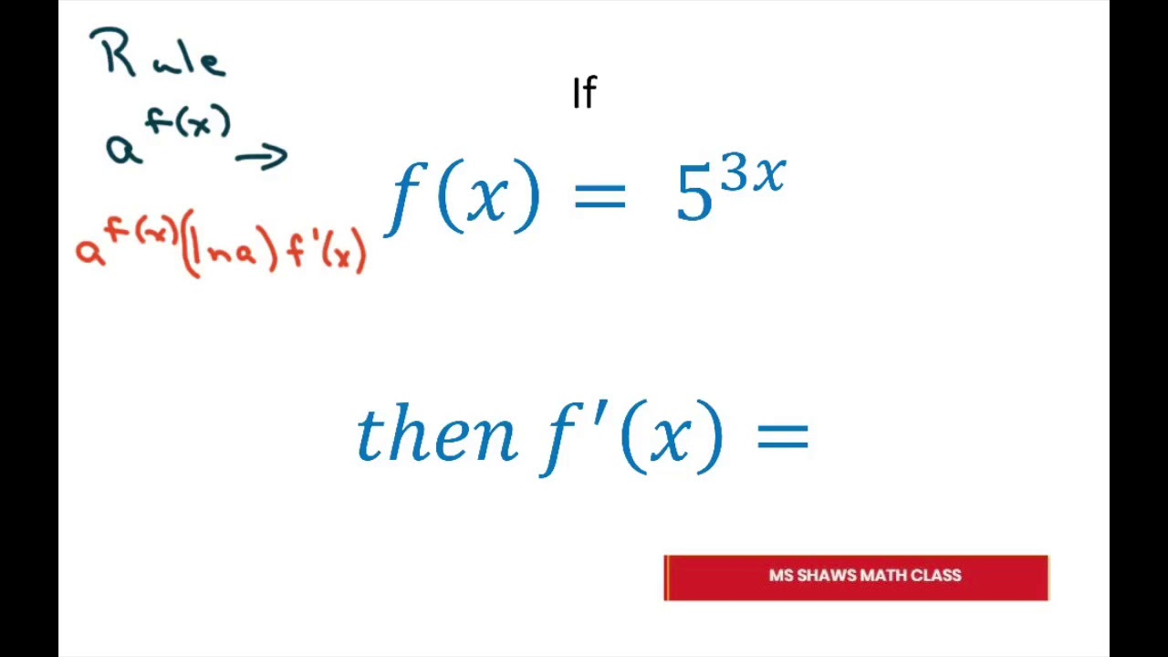 Example of Derivative Of Exponential Function - YouTube