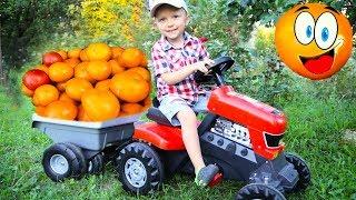 Играем с трактором, Лева  в саду собирает урожай на тракторе