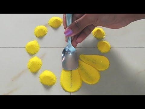 इतनी beautiful rangoli design जो आप भी बना लेंगे || Easy muggulu/kolam designs by using spoon || thumbnail