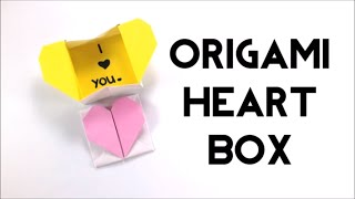 Pop-up Origami Heart Box with Hidden Message - DIY Valentines - Paper Heart Box - Easy Origami