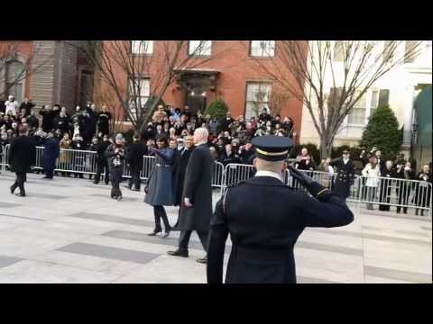 2013 Presidential Inauguration Parade - Obama and Michelle Walking at White House