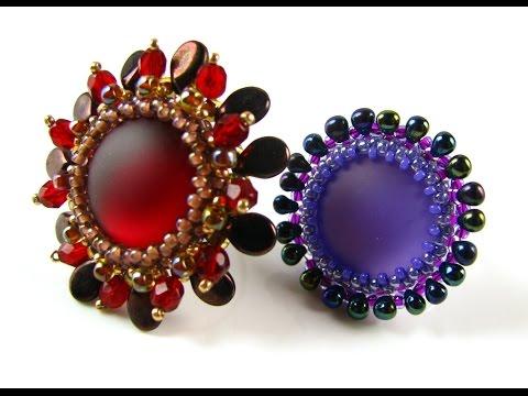 Lunasoft Cabochon Rings with pip beads and Miyuki drop beads