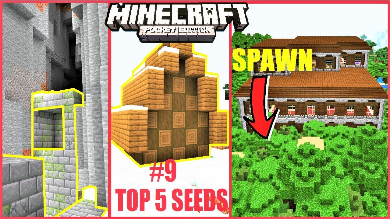 Minecraft PE - TOP 5 BEST SEEDS for 2019 #9 ! MANSION AT SPAWN, SURFACE  RUINS & MORE ! | MCPE 1 11