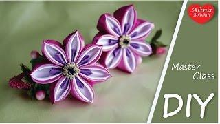 New Flower in Kanzashi Style . Tutorial Kanzashi / Цветок Канзаши Новинка