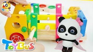 Baby Panda Makes Rainbow Bus | Toy Car Assembly Video for Kids | Build and Play Toys | ToyBus