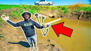 Bow Fishing NASTY SEWER for BIG FISH CATCH CLEAN COOK 2 Fish 1 Shot
