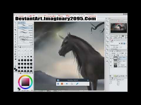 Digital Speed Paint Dark Unicorn Landscape