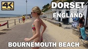 ⁴ᴷ Bournemouth Beach Summer Time, Dorset England