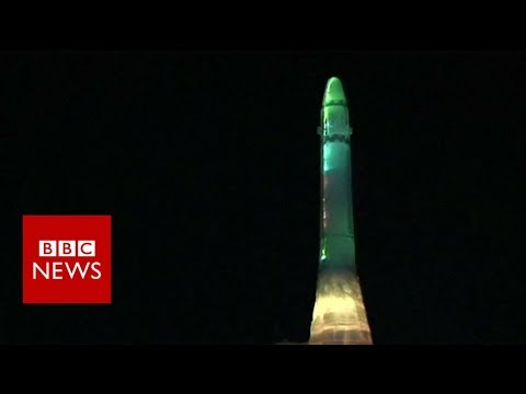 North Korea shows off icy replica of Hwasong-15 missile – BBC News
