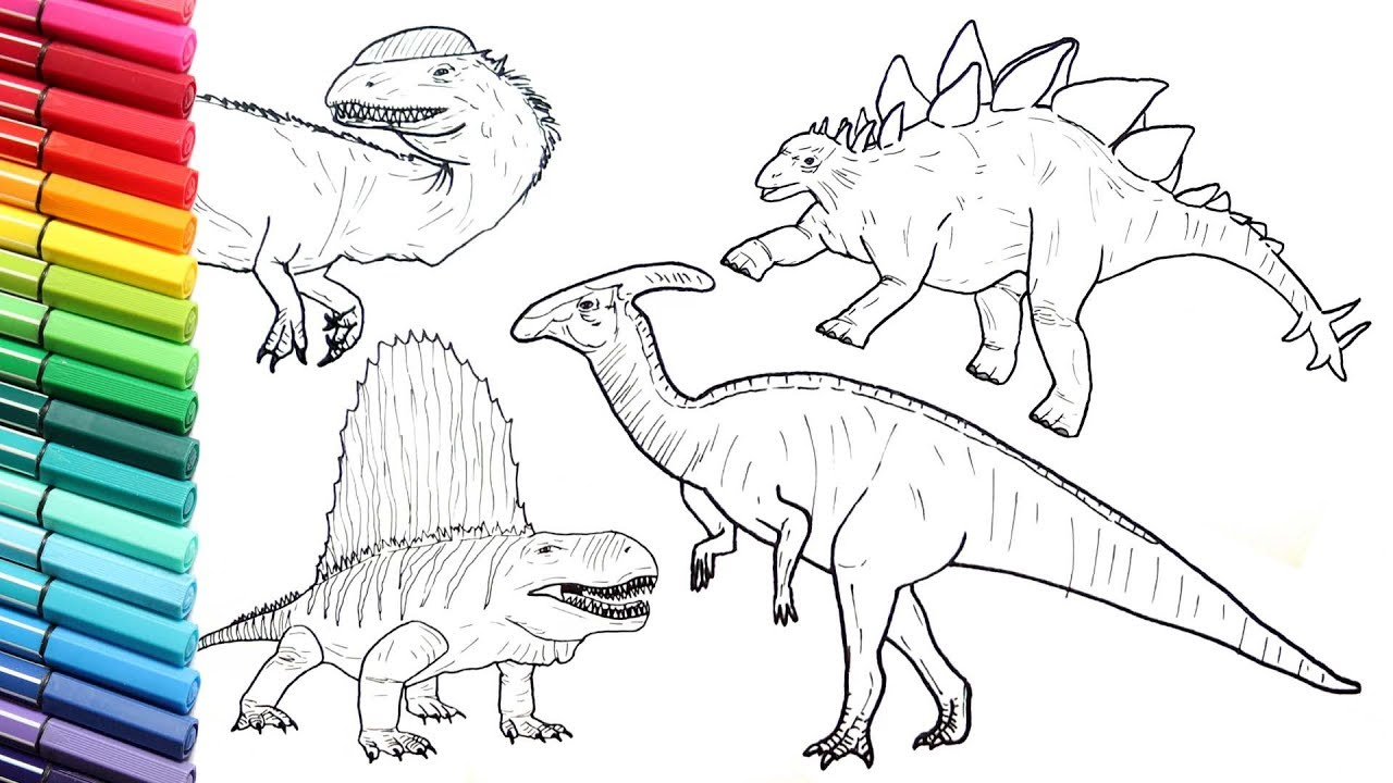 drawing and coloring dinosaurs color pages collection 3