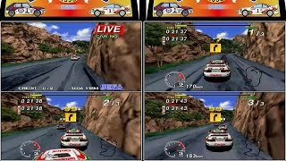 Sega Rally - 3 player - (Mountain - Expert Stage) Model 2 Emulator