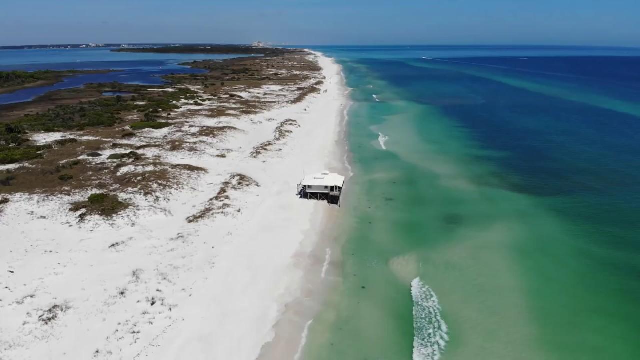 shell island mysterious house - drone footage - panama city beach