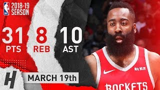 James Harden NASTY Highlights Rockets vs Hawks 2019.03.19 - 31 Pts, 8 Reb, 10 Assists!