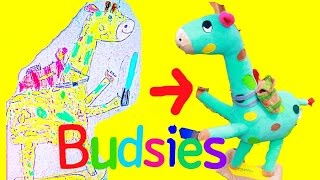 Budsies COLOR & DRAW Your Own Stuffed Animal PLUSH Toy To Life CUTE Happy Colorful Giraffe Crayola