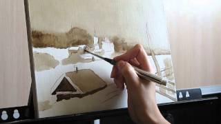 Уроки живописи маслом. Part 1. Зимний пейзаж