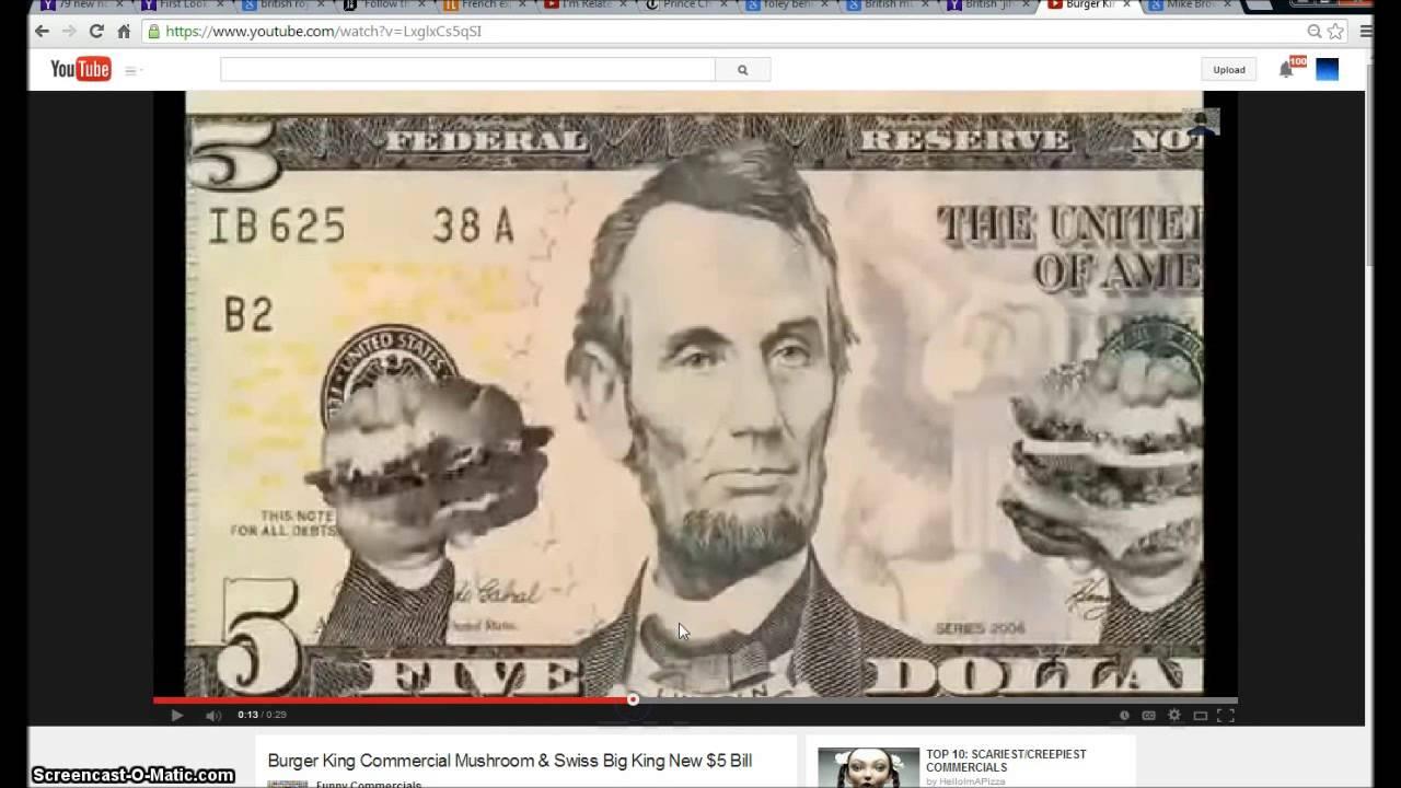 Burger King 5 Dollar Bill Commercial Illuminati Freemason Symbolism
