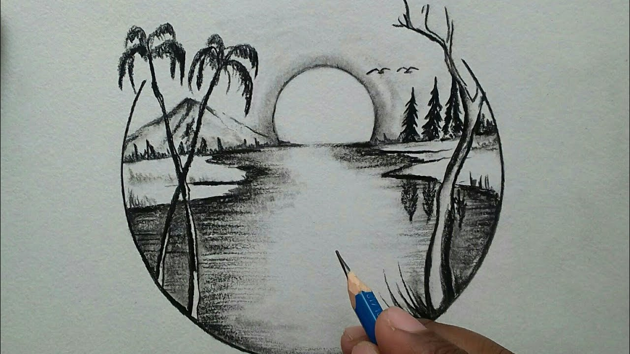Nature Scenery Drawing For Beginners Step By Step Youtube