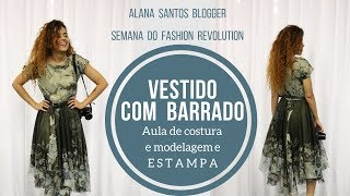 Aula vestido com barrado fiz estampa por sublimação  Alana Santos Blogger