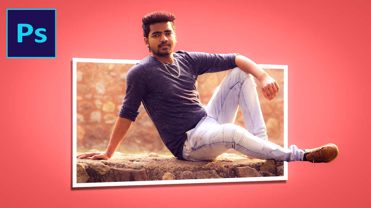 Pic Come Out From Frame | Creative Design In Photoshop | - YouTube