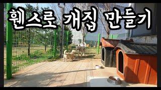 삼죽특수가스 강아지 3마리 휀스로 개집 만들어주기