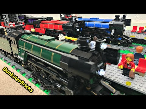 LEGO Train Track Setup! Three Long Tracks Running Together, Three Steam Trains!!