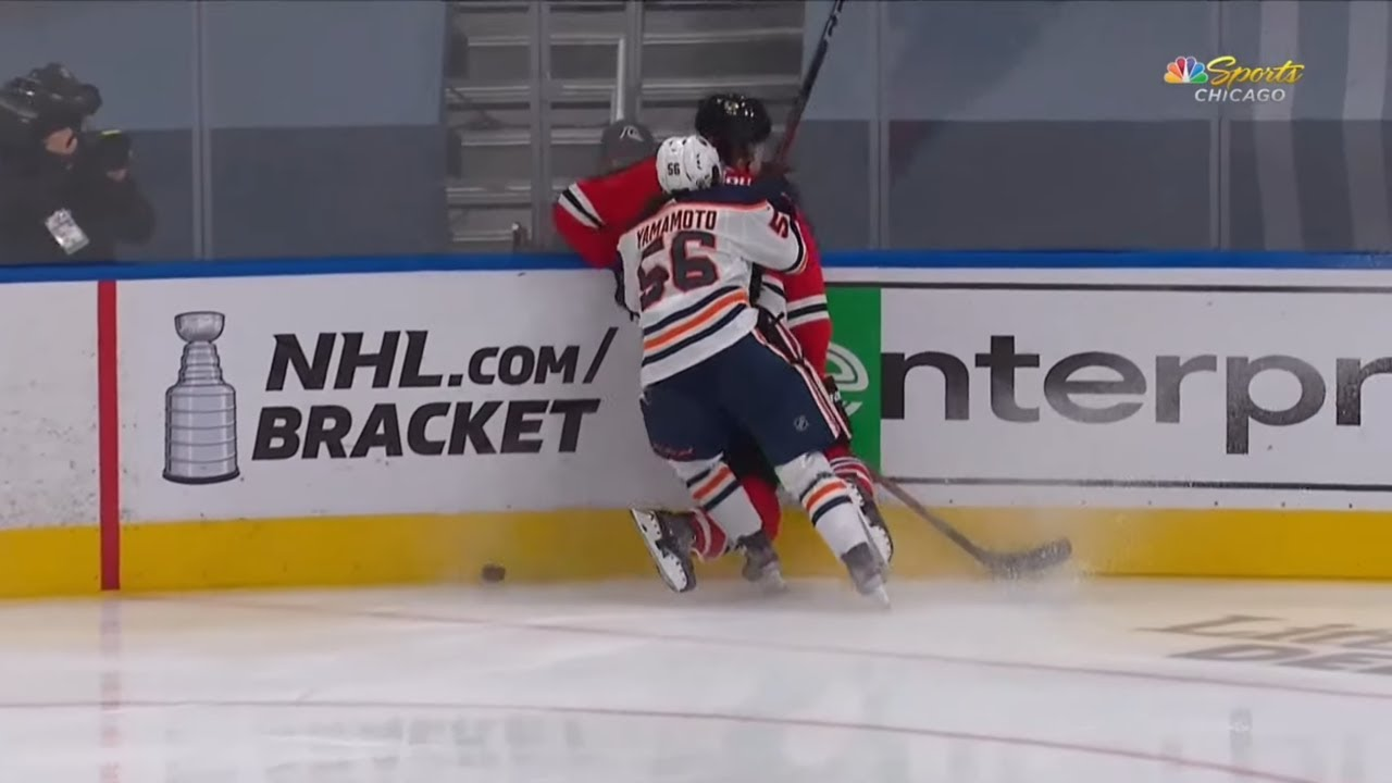 Murphy Hit From Behind By Yamamoto, Oilers Bench Reaction