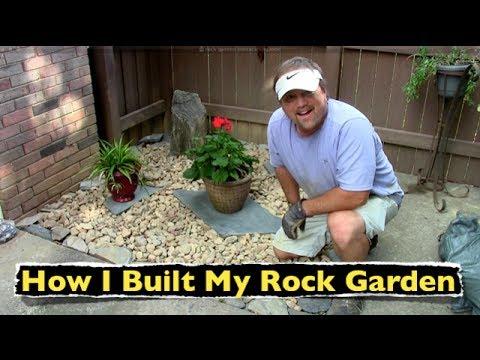 built rock garden backyard