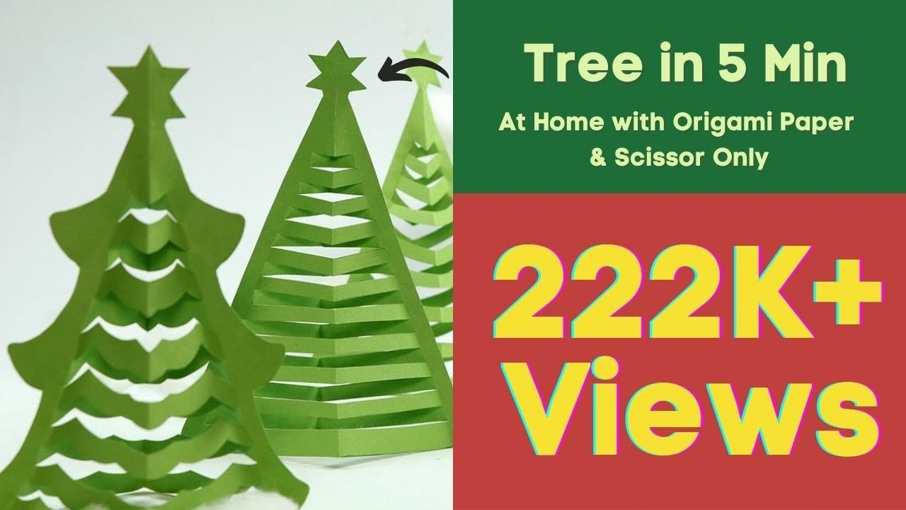 Christmas Tree Craft.How To Make Christmas Tree In 5 Min At Home With Origami Paper Scissior Only