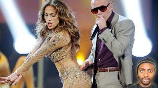 Jennifer Lopez Gives Pitbull Boner at AMA