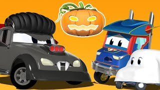 Truck cartoons for kids -  HALLOWEEN: VAMPIRE frightens Baby GHOST! - Super Truck !