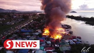 All safe but hundreds homeless after fire in Putatan