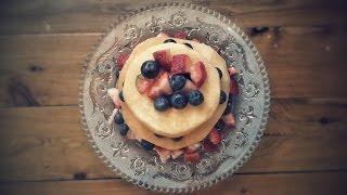 Fruit cake. Rock melon, Blueberry and Strawberry Fruit Cake