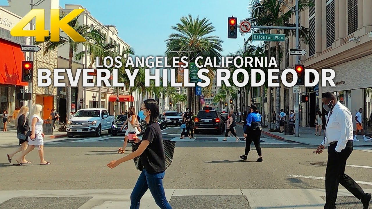 Driving Beverly Hills, Rodeo Drive, Luxury Shopping Street, Los Angeles, California, USA, Travel, 4K