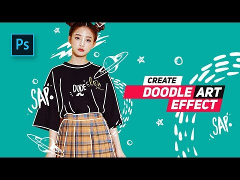 How To Create Doodle Portrait  Effect In Photoshop - #Photoshop Tutorials