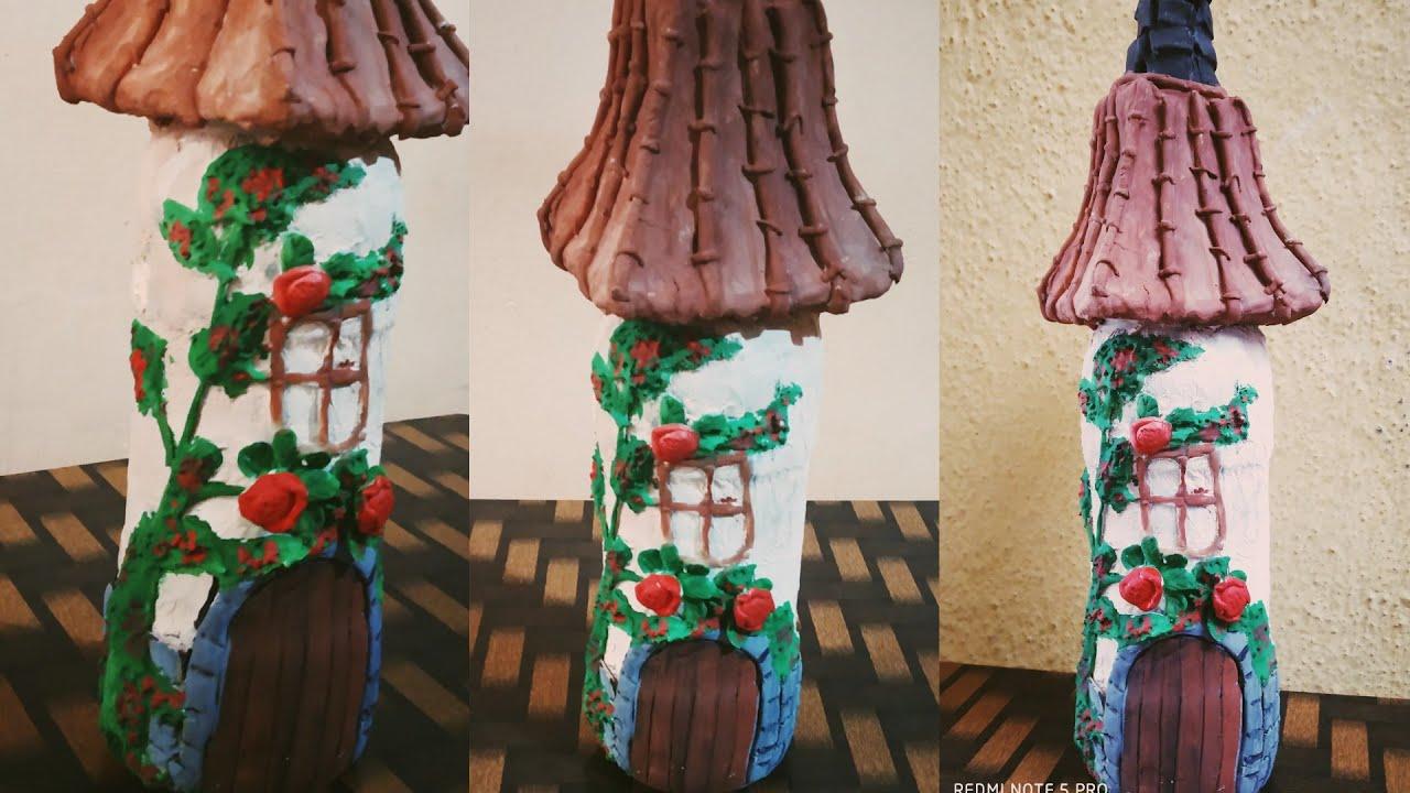 Diy Wine Bottle Fairy House Bottle Art Bottle Decoration Home Decor S V Craft Zone Youtube