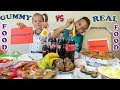 FUNNY ЧЕЛЛЕНДЖ ОБЫЧНАЯ Еда против МАРМЕЛАДА Real Food vs Gummy Food Challenge сладкий МУРАВЕЙНИК