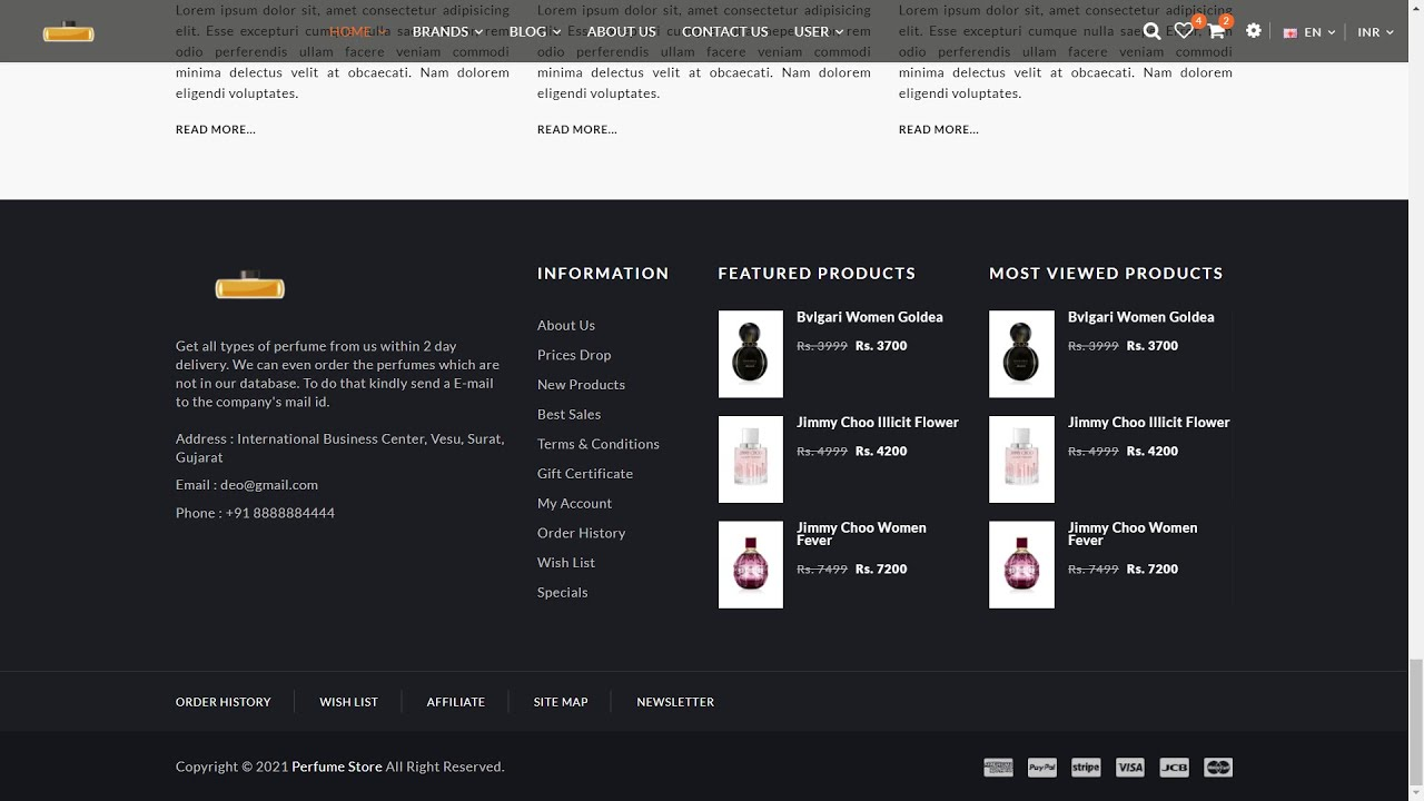 Responsive E-Commerce Website (Perfume Website) using HTML, CSS, jQuery | Part 11