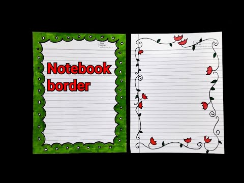 easy notebook border design | ruled paper border design handmade | cover page design for projects