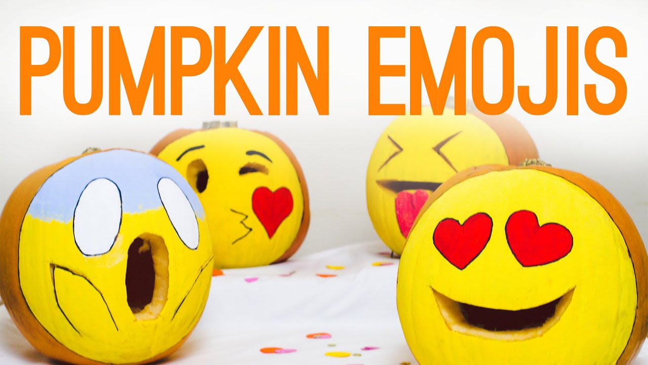 diy emoji pumpkins for halloween decor youtube - Halloween Decorations Pumpkins