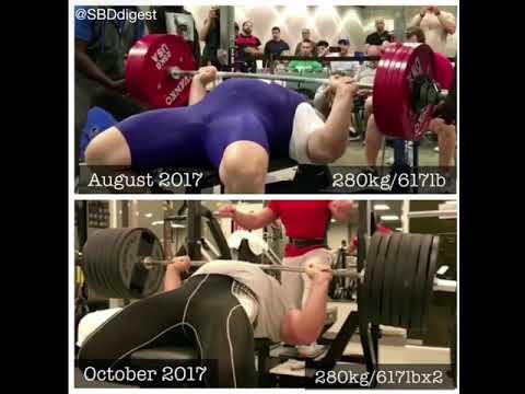 280kg/617lb single Bench vs double compare your Kiril Sartchev