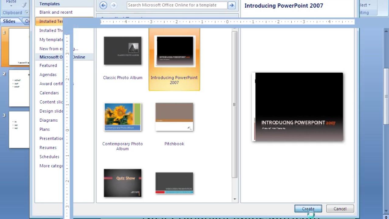 Create new presentation from template in powerpoint 2007 youtube create new presentation from template in powerpoint 2007 toneelgroepblik Gallery