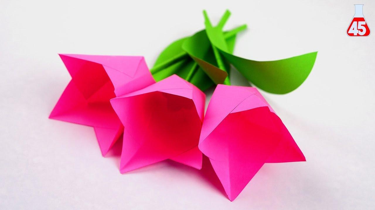 Mazzo Di Fiori Origami.Tutorial Fiori Di Carta Semplice Tulipani Fai Da Te Youtube