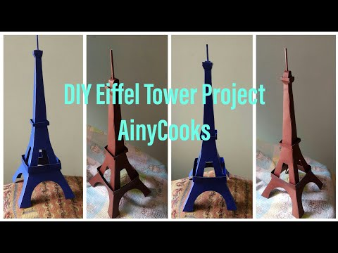 DIY Eiffel Tower 🗼 Project Making With Cardboard _ AinyCooks