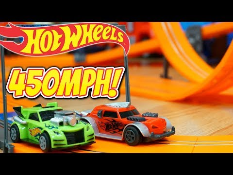 Hot Wheels Double Loop 360 Degree Race Track 450 MPH Slot Car Speed