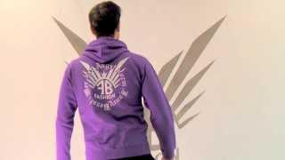 Cooler Lila FancyBeast Clubwear Pullover FB215 Pulli mit Gelber Kapuze
