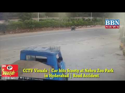 CCTV Visuals | Car hits Scooty at Nehru Zoo Park in Hyderabad | Road Accident | BBN NEWS