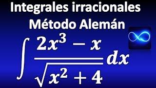 308. Método Alemán para integrales de funciones irracionales, explicado paso a paso